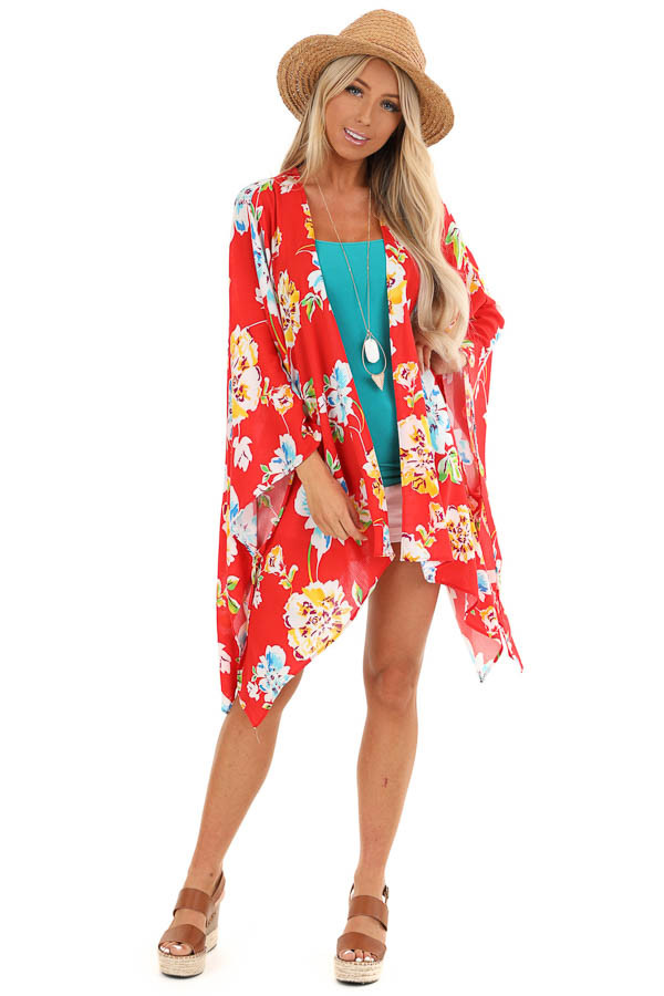 Scarlet Floral Print Open Front Kimono with 3/4 Sleeves front full body