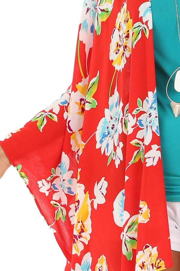 Scarlet Floral Print Open Front Kimono with 3/4 Sleeves detail