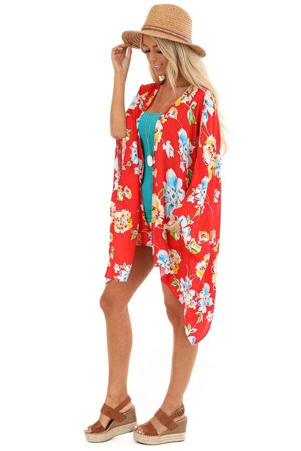 Scarlet Floral Print Open Front Kimono with 3/4 Sleeves side full body