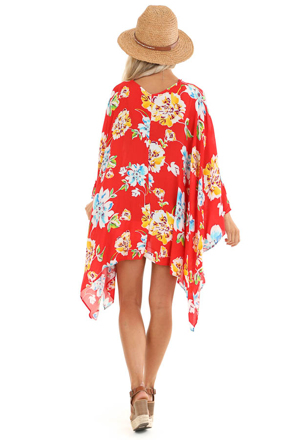 Scarlet Floral Print Open Front Kimono with 3/4 Sleeves back full body