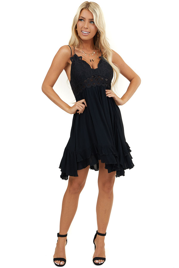 Jet Black Strappy Sleeveless Mini Dress with Sheer Waist