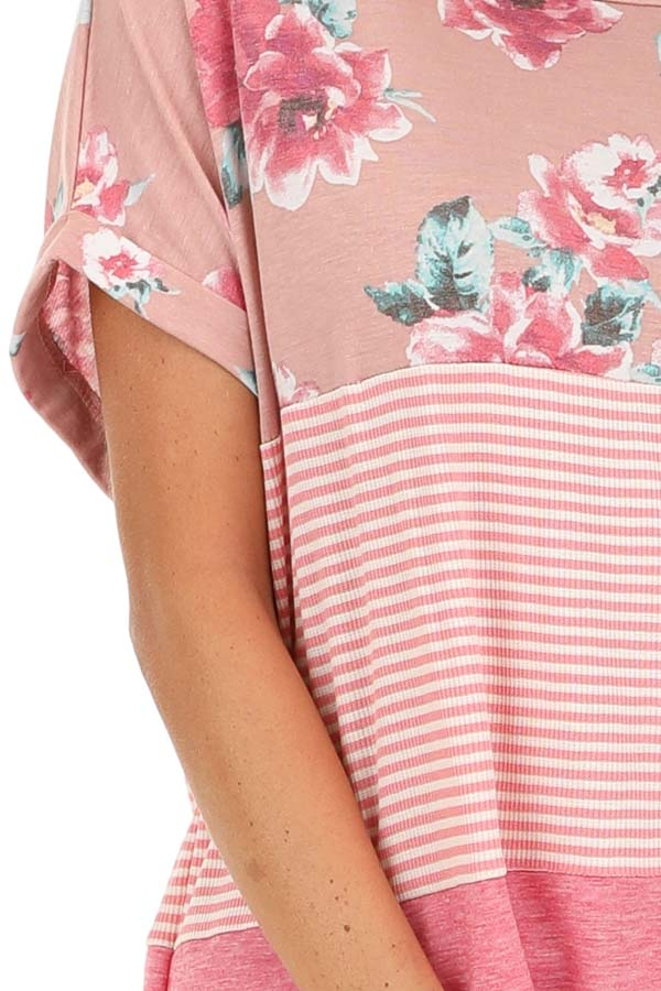 Rose Floral Print and Striped Top with Front Twist detail