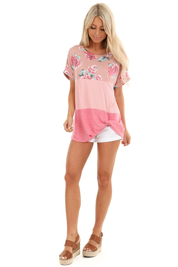 Rose Floral Print and Striped Top with Front Twist front full body