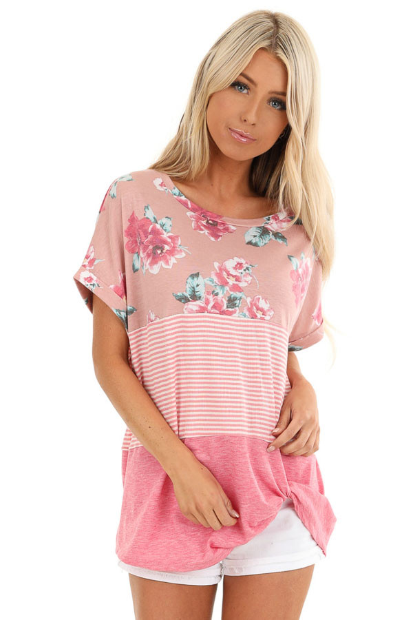 Rose Floral Print and Striped Top with Front Twist front close up