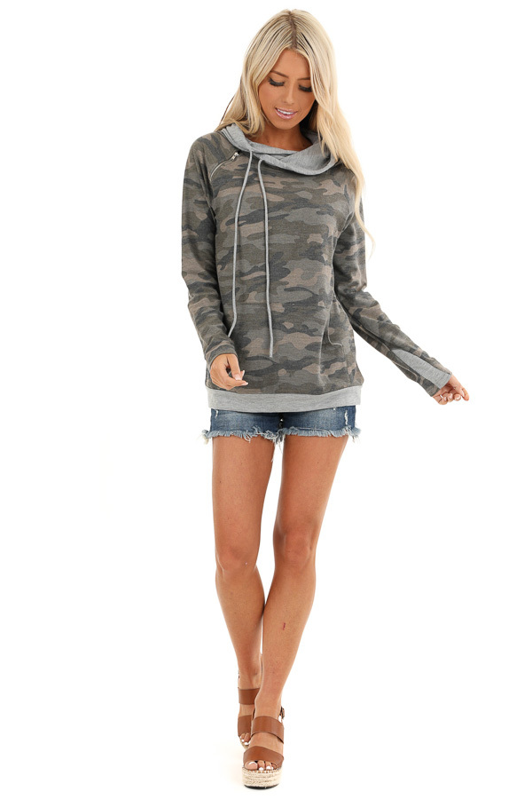 Antique Olive Camo Print Hoodie with Kangaroo Pocket front full body