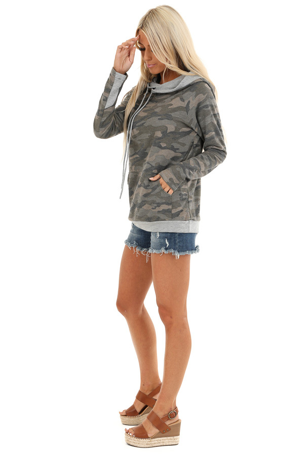 Antique Olive Camo Print Hoodie with Kangaroo Pocket side full body