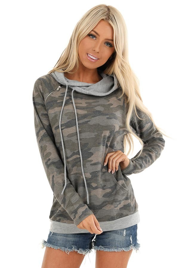 Antique Olive Camo Print Hoodie with Kangaroo Pocket front close up