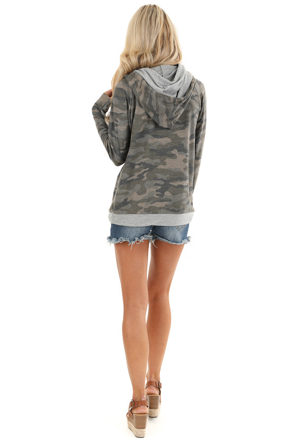 Antique Olive Camo Print Hoodie with Kangaroo Pocket back full body