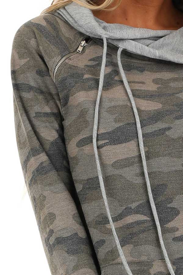 Antique Olive Camo Print Hoodie with Kangaroo Pocket detail