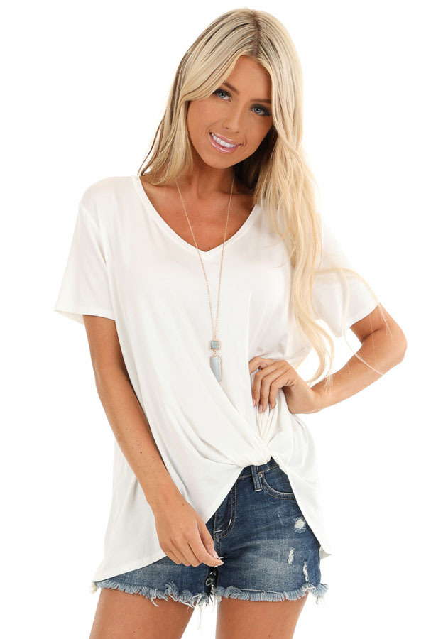 Coconut White Loose Short Sleeve Top with Front Twist front close up