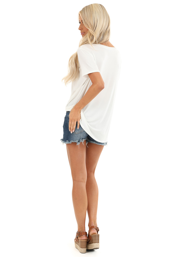 Coconut White Loose Short Sleeve Top with Front Twist back full body