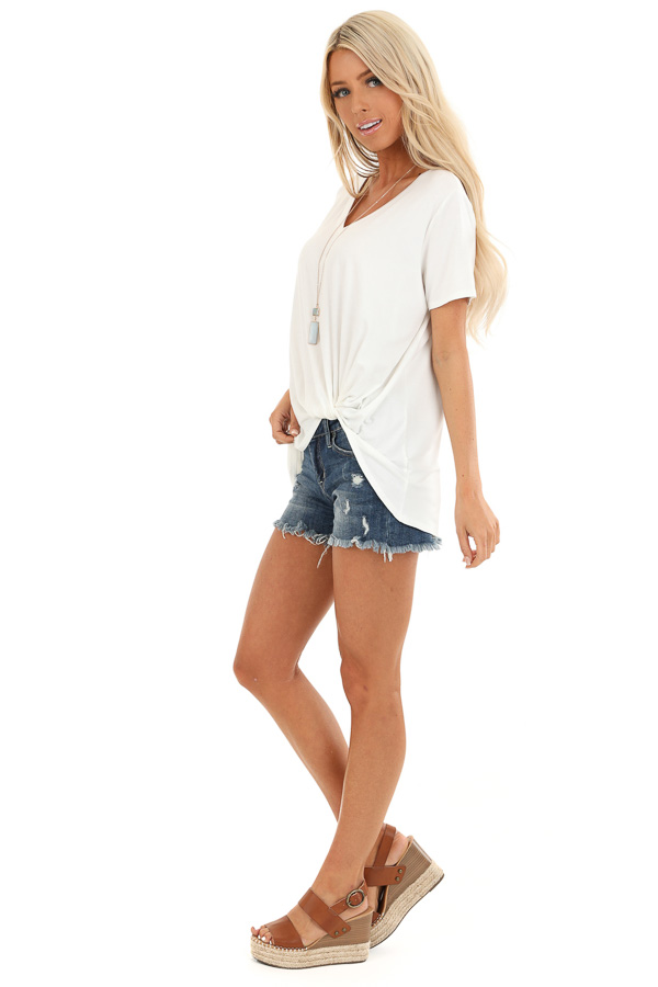 Coconut White Loose Short Sleeve Top with Front Twist side full body