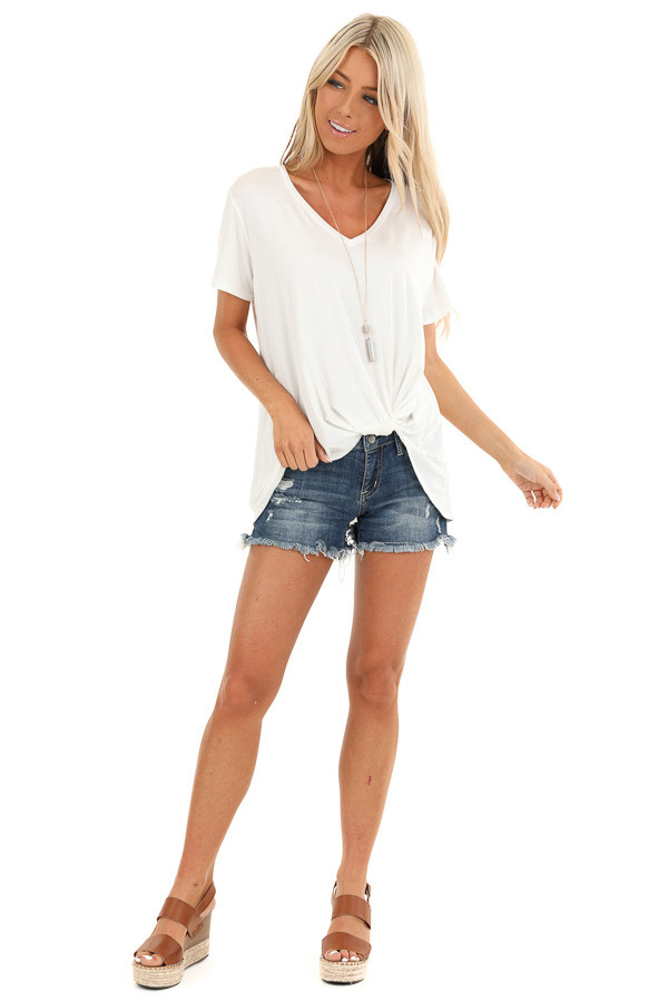 Coconut White Loose Short Sleeve Top with Front Twist front full body