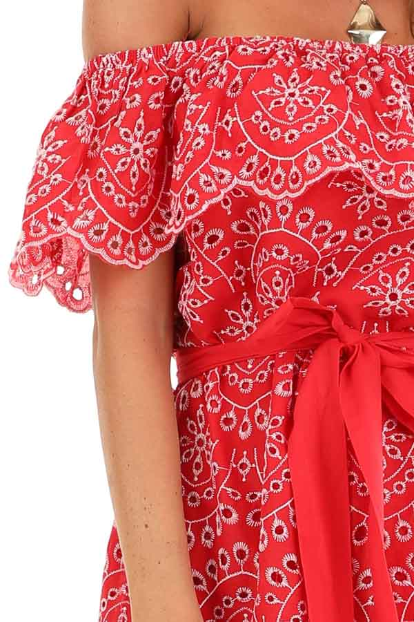 Firetruck Red Off the Shoulder Eyelet Mini Dress with Tie detail