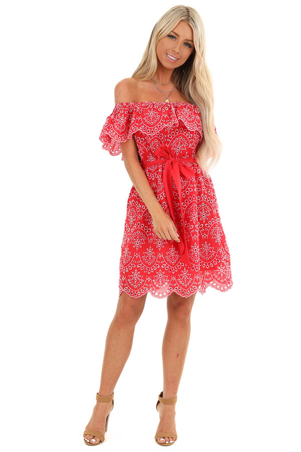 Firetruck Red Off the Shoulder Eyelet Mini Dress with Tie front full body