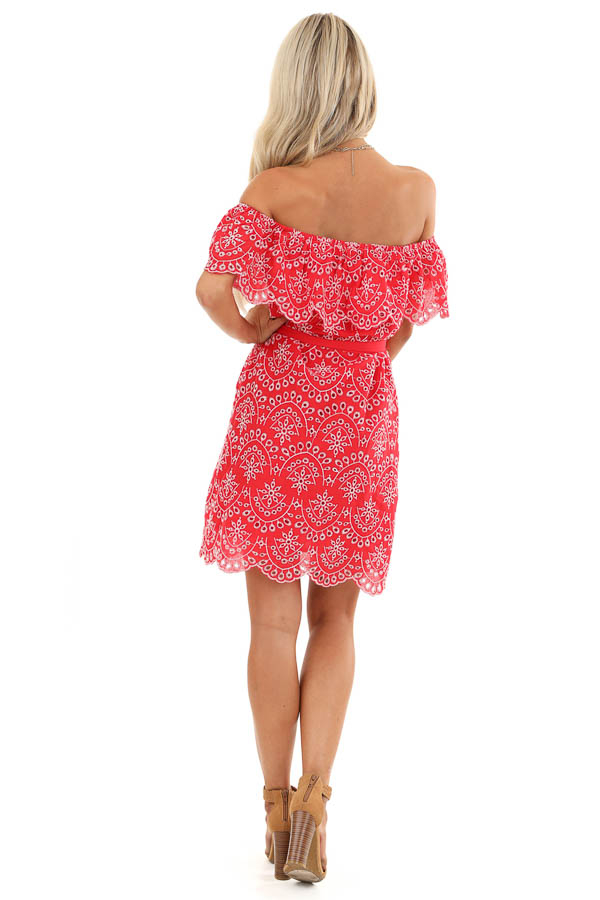 Firetruck Red Off the Shoulder Eyelet Mini Dress with Tie back full body
