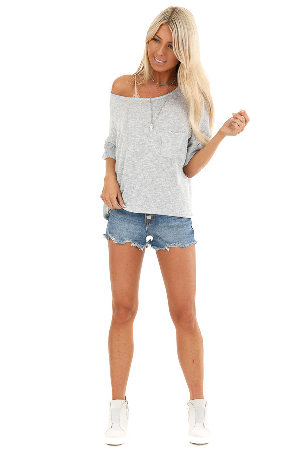 Silver Knit Top with Short Cuffed Sleeves and Chest Pocket front full body