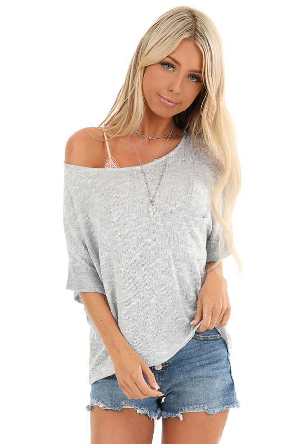 Silver Knit Top with Short Cuffed Sleeves and Chest Pocket front close up