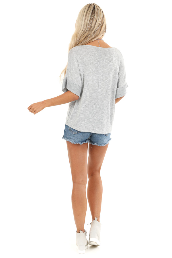 Silver Knit Top with Short Cuffed Sleeves and Chest Pocket back full body