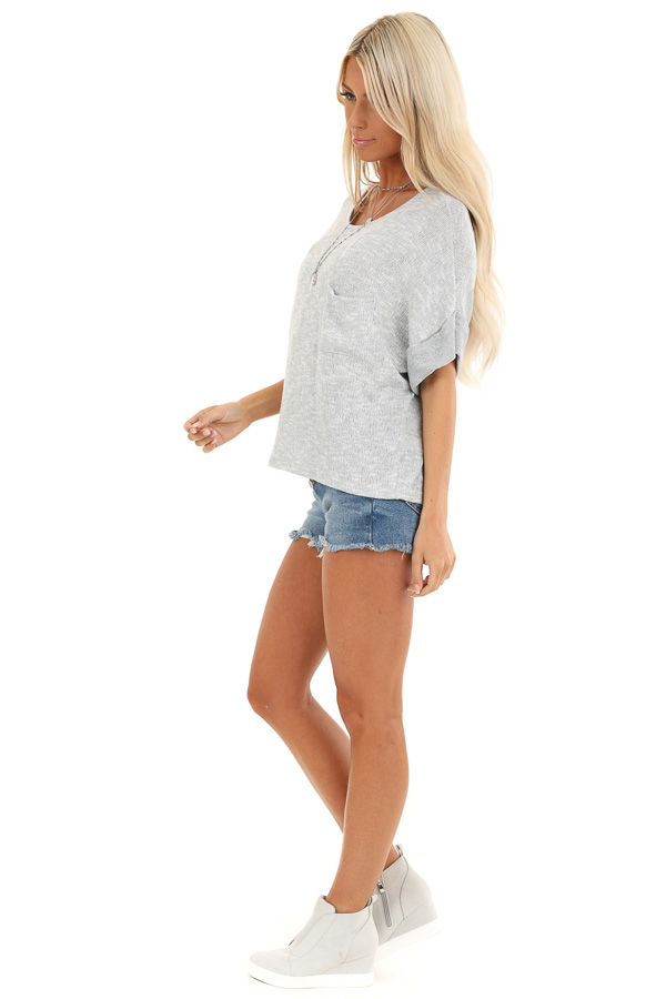 Silver Knit Top with Short Cuffed Sleeves and Chest Pocket side full body