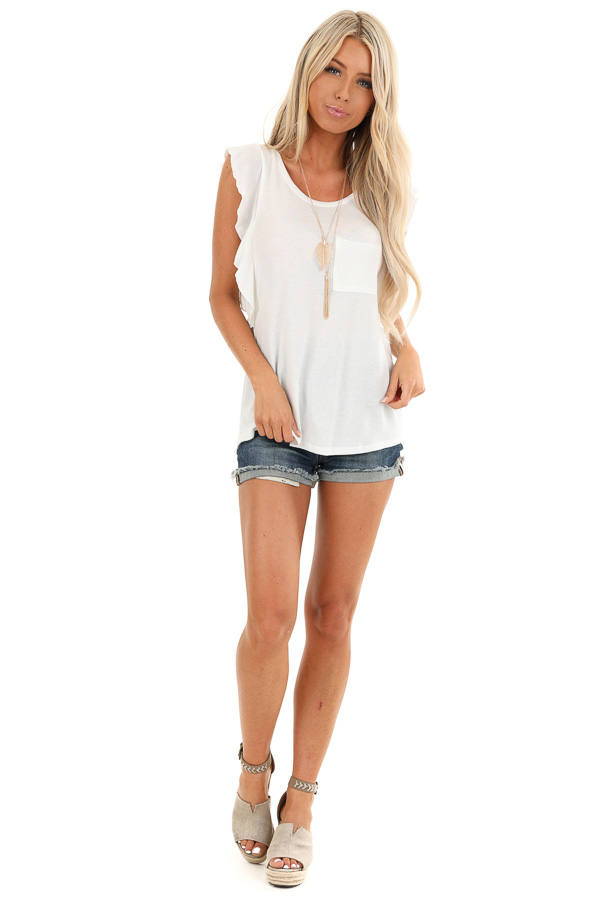 Pure White Top with Short Flutter Sleeves and Chest Pocket front full body