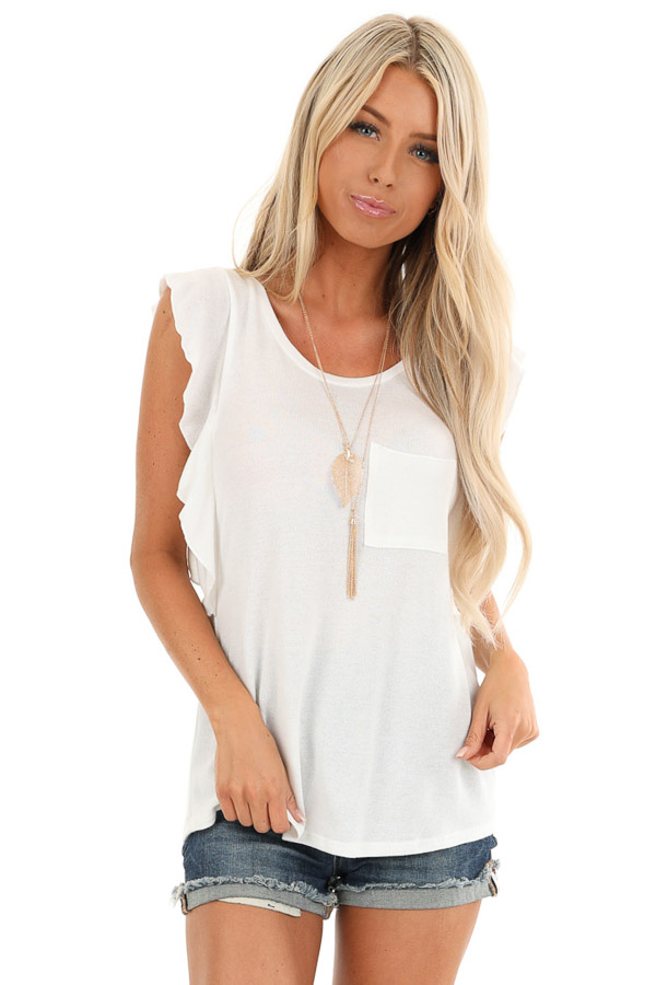 Pure White Top with Short Flutter Sleeves and Chest Pocket front close up