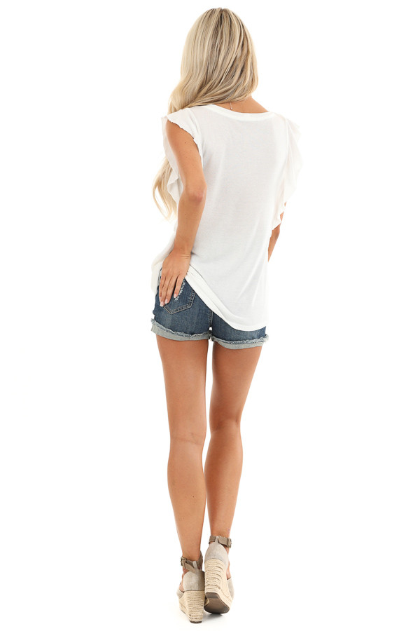 Pure White Top with Short Flutter Sleeves and Chest Pocket back full body