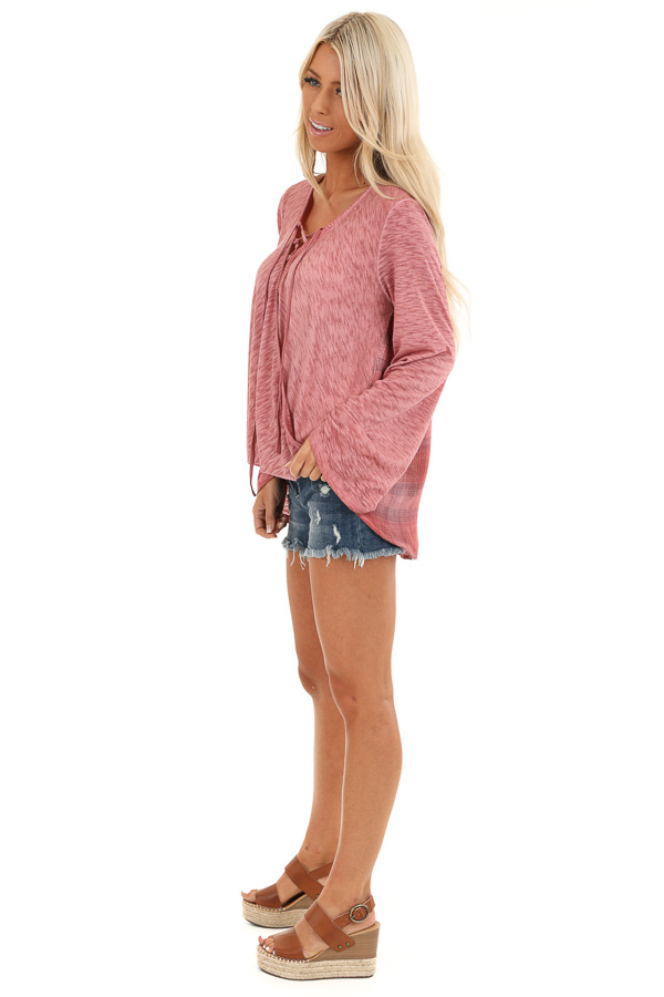Dark Rose Long Sleeve Top with Plaid Back and Lace Up Neck side full body