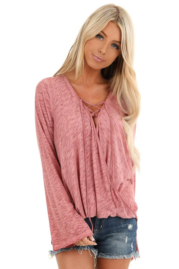 Dark Rose Long Sleeve Top with Plaid Back and Lace Up Neck front close up