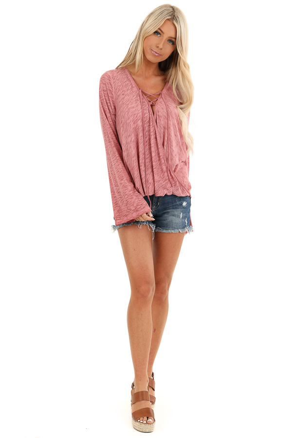 Dark Rose Long Sleeve Top with Plaid Back and Lace Up Neck front full body