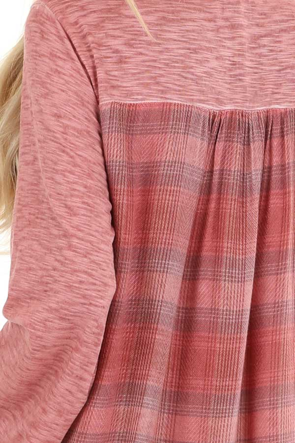 Dark Rose Long Sleeve Top with Plaid Back and Lace Up Neck detail