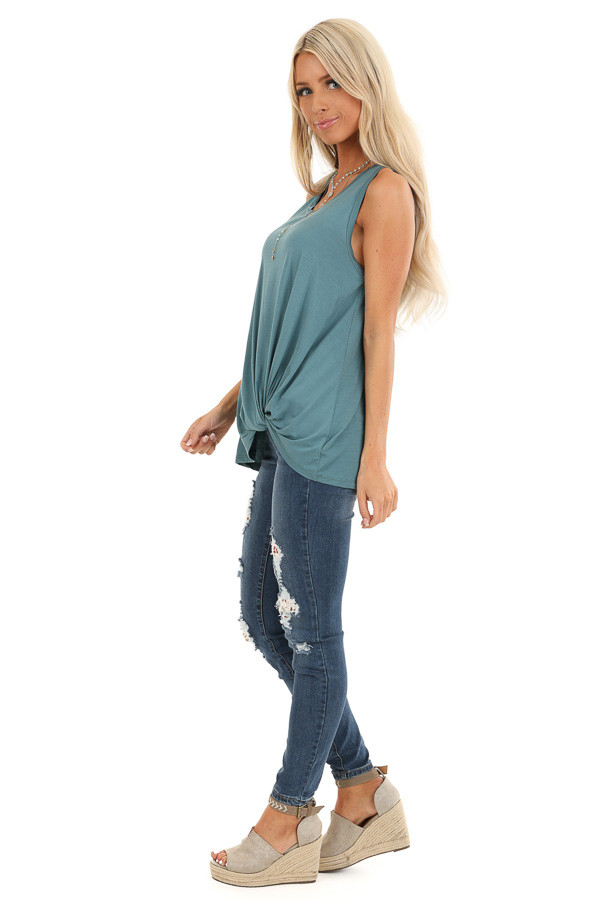 Dark Teal Tank with Front Twist Detail and Round Neckline side full body