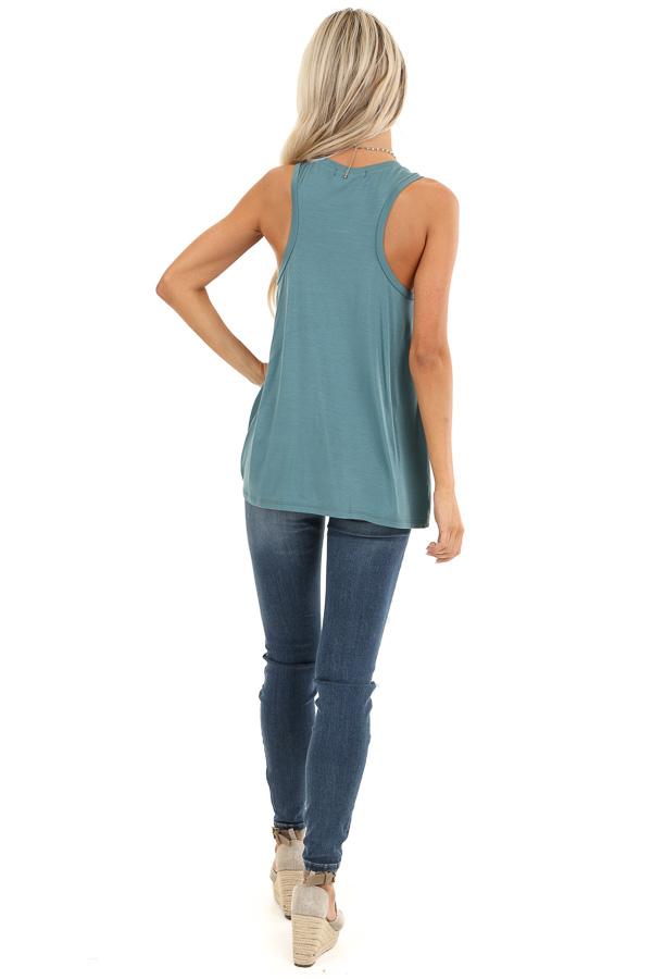 Dark Teal Tank with Front Twist Detail and Round Neckline back full body