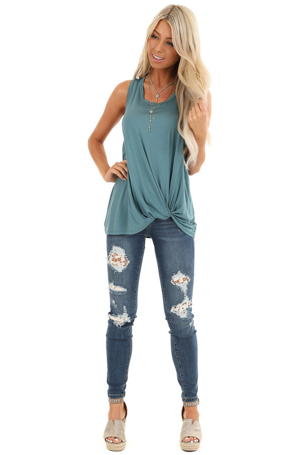 Dark Teal Tank with Front Twist Detail and Round Neckline front full body