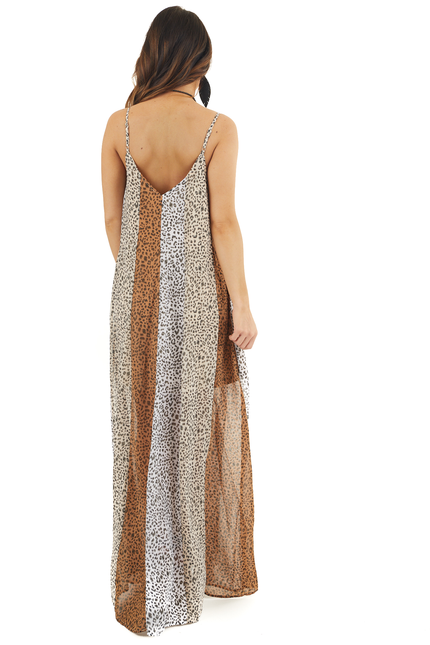 Sand and Charcoal Animal Print Color Block Maxi Dress