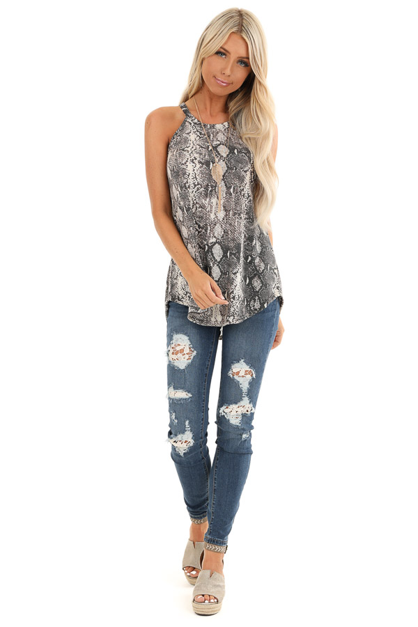 Charcoal Snakeskin Print Knit Halter Tank Top front full body