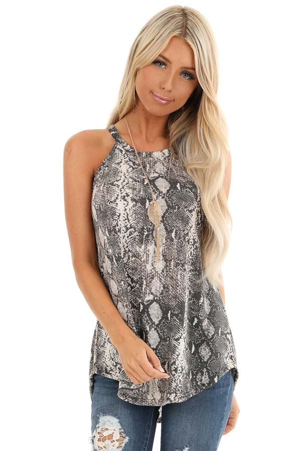 Charcoal Snakeskin Print Knit Halter Tank Top front close up