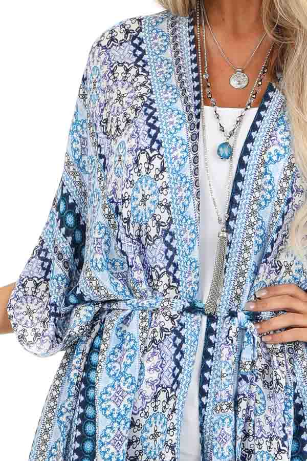 Azure Blue and Indigo Multi Print Open Front Kimono with Tie detail