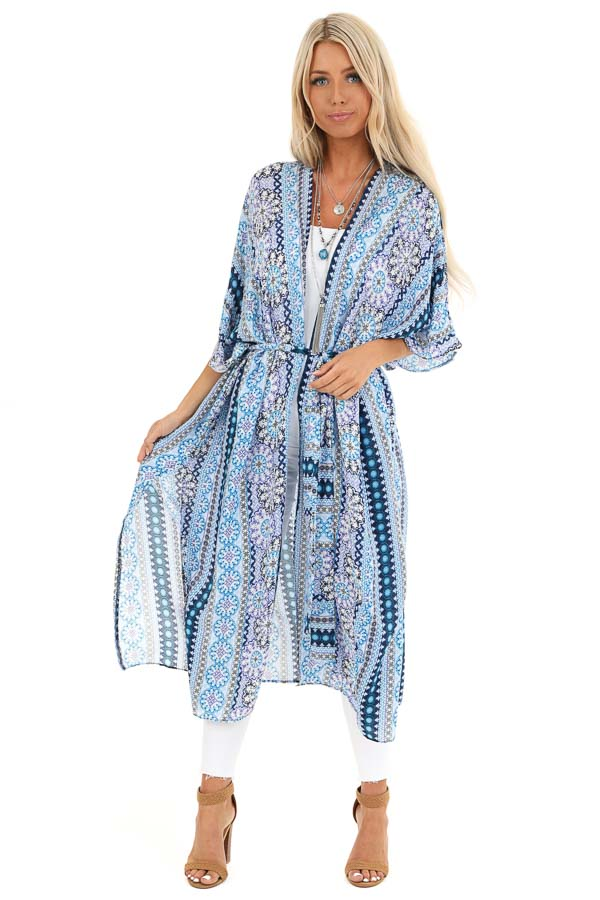 Azure Blue and Indigo Multi Print Open Front Kimono with Tie front full body
