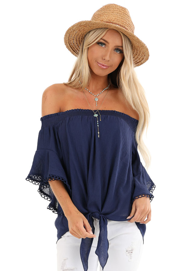 Midnight Navy Off Shoulder Top with Ruffle Trumpet Sleeves front close up