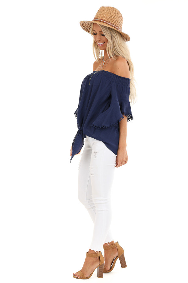 Midnight Navy Off Shoulder Top with Ruffle Trumpet Sleeves side full body