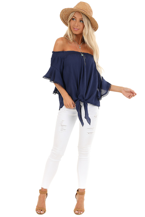 Midnight Navy Off Shoulder Top with Ruffle Trumpet Sleeves front full body