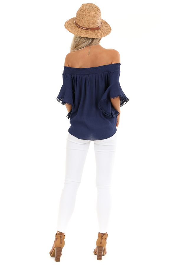 Midnight Navy Off Shoulder Top with Ruffle Trumpet Sleeves back full body