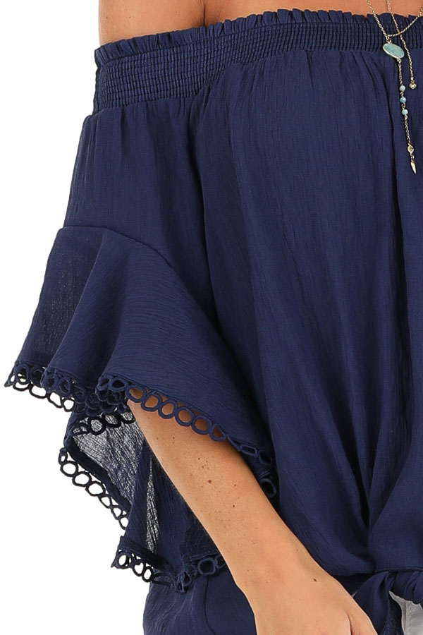 Midnight Navy Off Shoulder Top with Ruffle Trumpet Sleeves detail