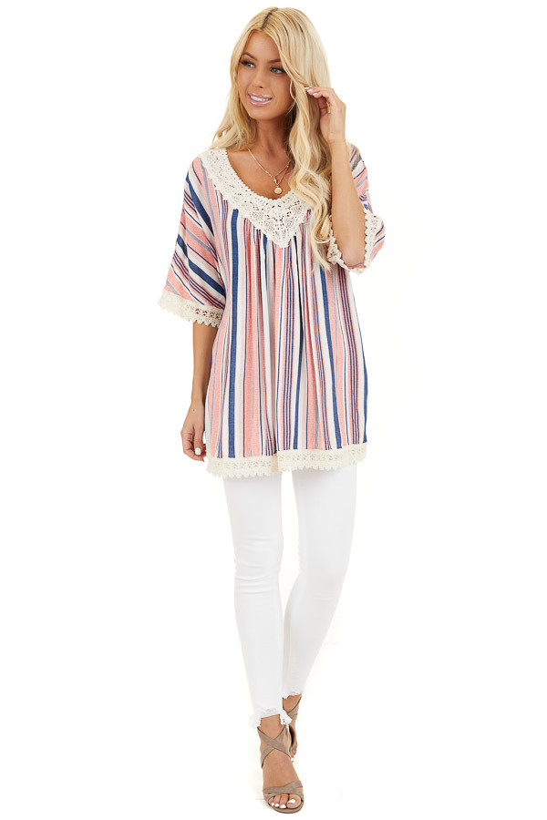 Punch Pink and Navy Striped Tunic Top with Cream Lace Trim front full body