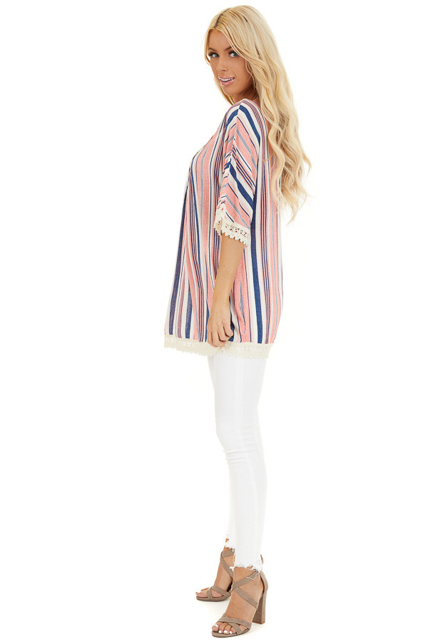 Punch Pink and Navy Striped Tunic Top with Cream Lace Trim side full body