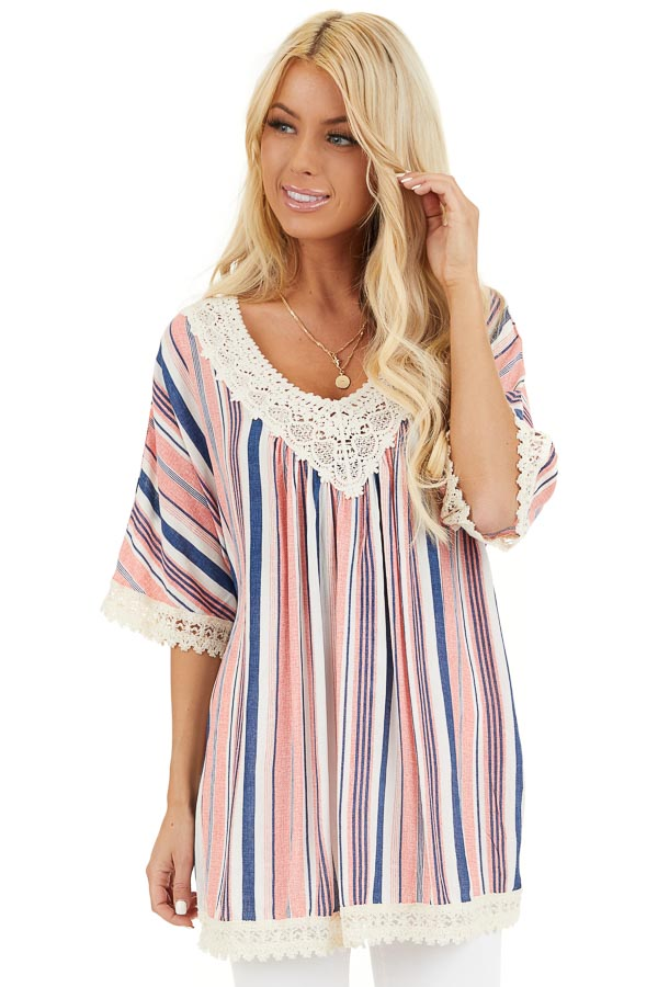 Punch Pink and Navy Striped Tunic Top with Cream Lace Trim front close up