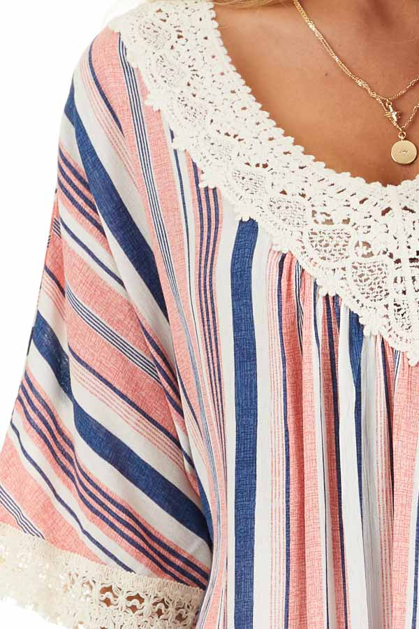 Punch Pink and Navy Striped Tunic Top with Cream Lace Trim detail