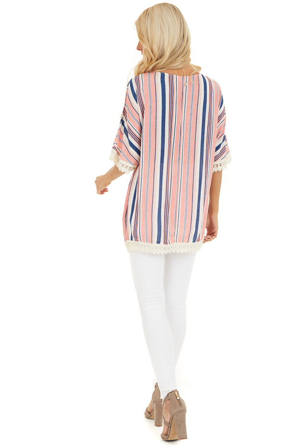 Punch Pink and Navy Striped Tunic Top with Cream Lace Trim back full body