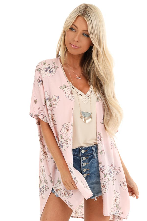 Pale Blush Floral Short Sleeve Open Front Kimono front close up